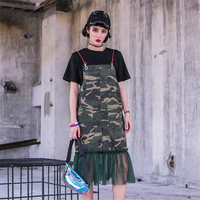 Summer Casual Wild Dress New Women Army green camouflage Dresses Pocket Sling Dress Off shoulder Party Mesh Stitching Sundress