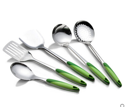 5 pièces/ensemble accessoires de cuisine outil de cuisine en acier inoxydable fournitures de cuisine pelle ustensiles de cuisine ustensiles de cuisine poignée longue poche à soupe D