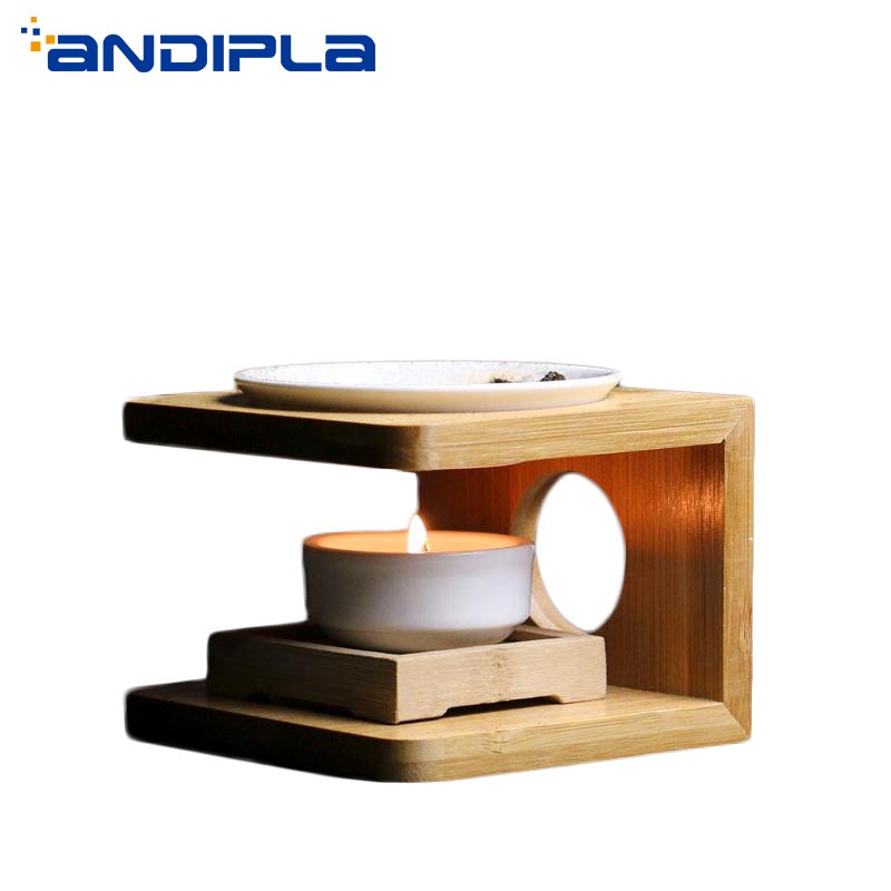 Natural Bamboo Frame Ceramic Incense Burner Candle Aroma Lamps Candles Heater Essential Oil Diffuser Yoga SPA Aroma Burner Decor candle