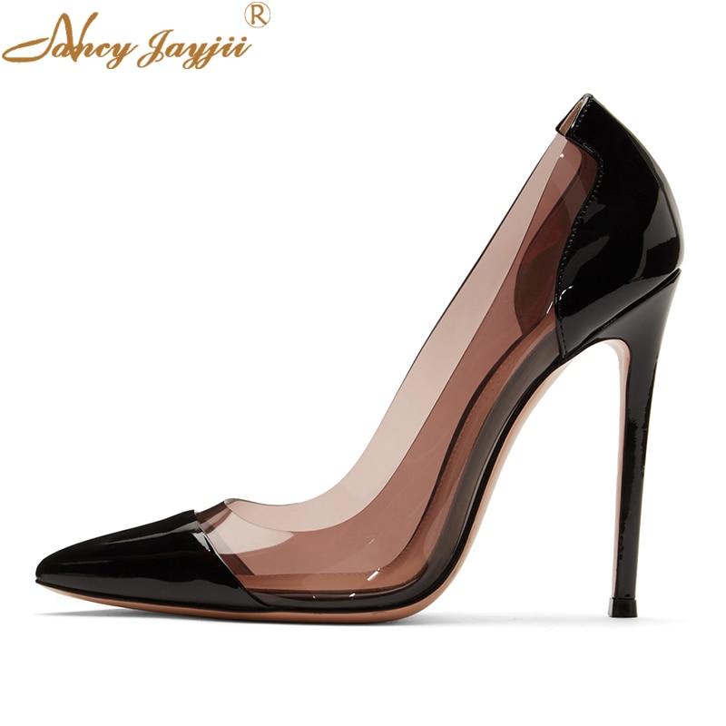 Sexy Altos Para 5 Pvc Claro Transparente Zapatos Fiesta Stiletto Clásico De Black 12 Grande Bombas Plexiglás Gris Vestido Tamaño Mujer Pulgadas Tacones WYTq8wZZ