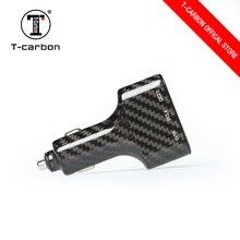 T-carbon волокно высокое качество 3 отверстия USB Автомобильное зарядное устройство QC2.0 Быстрая зарядка