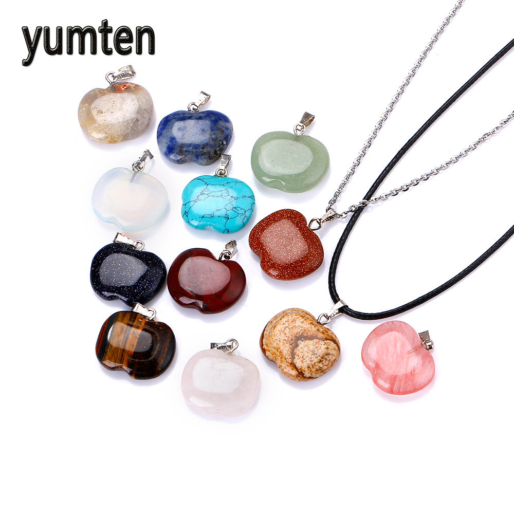 Yumten Natural Crystal Apple Pendants Stone Christmas Present Gift Eve Silver Plate Jewelry Women Charms Necklace Reiki Charms