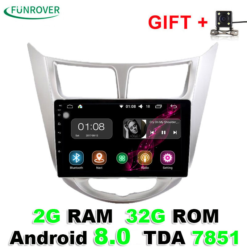 2018 Funrover 2g+32g Android8.0 Car radio tape recorder Gps 9 Inch For Hyundai Solaris Verna i25 Radio Video Navigation Wifi Bt