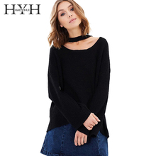 HYH HAOYIHUI Brand Solid Color Black Sweaters Women Lace Up Halter Loose Knitted Female Tops Causal Lady Soft Pullovers