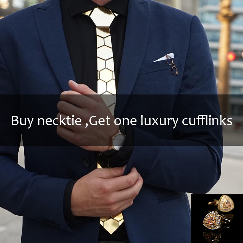 Handmade Geometric Honeycomb Shape Gold Brand Tie Necktie Glossy Gold Slim Hexagonal Fashion Tie Cufflink Set