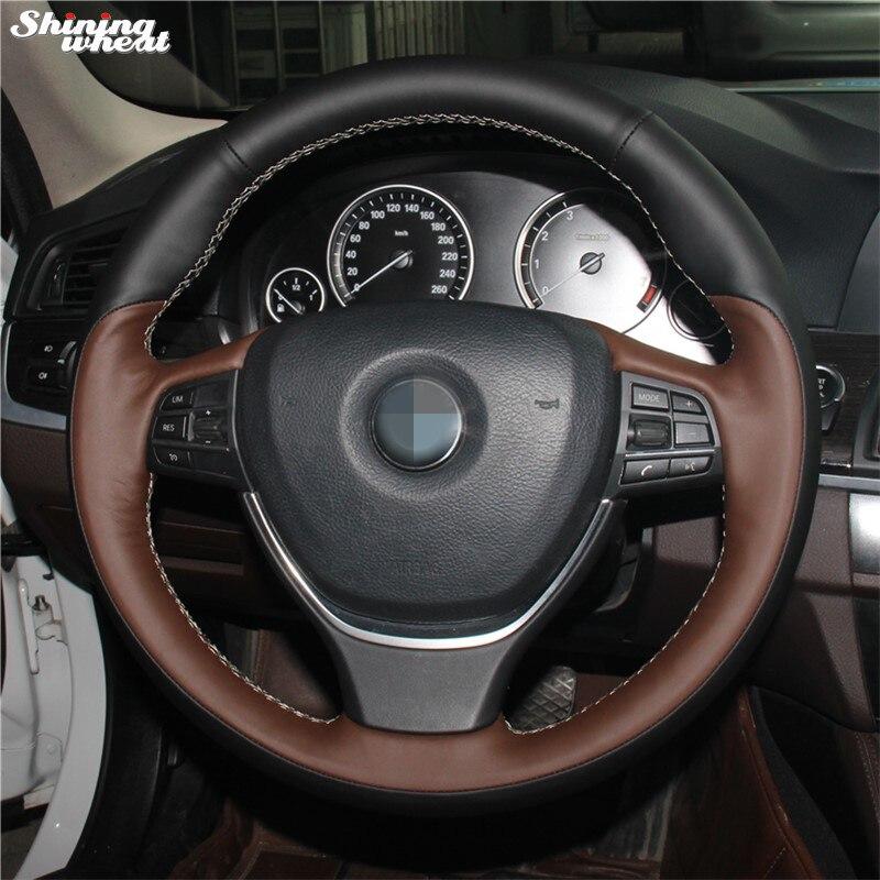 Palm Red Genuine Leather Black Leather Car Steering Wheel Cover for BMW F10 2014 520i 528i 2013 2014 730Li 740Li 750Li цены