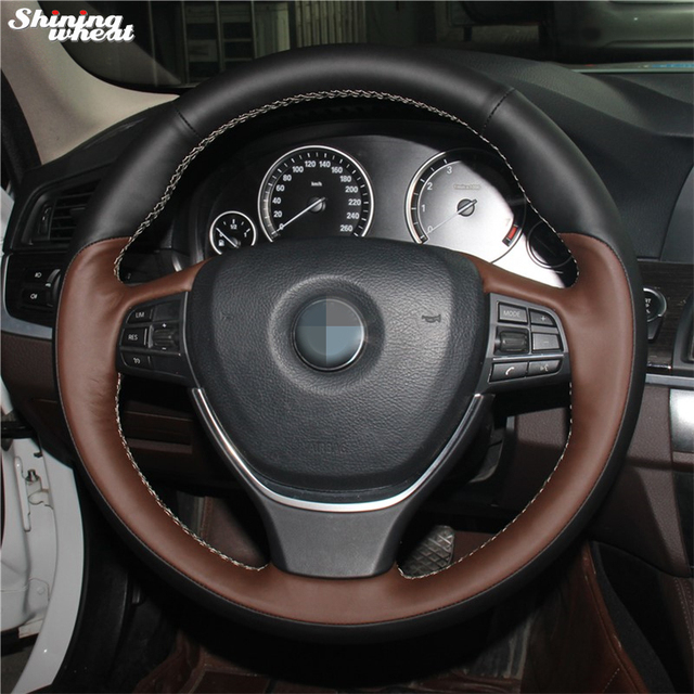 Palm Red Genuine Leather Black Car Steering Wheel Cover For BMW F10 2014 520i 528i