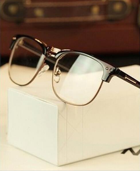 22759a4173d3 Metal Half Frame Glasses Frame Retro Woman Men Reading Glass UV Protection Clear  Lens Computer Eyeglass