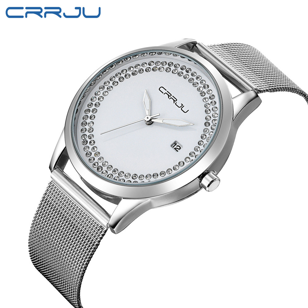 CRRJU Diamond Rhinestone Quartz Women Watch Fashion Casual Mesh Stainless Steel Watches Ladies WristWatch Relogio Feminino Clock