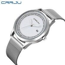 CRRJU Diamond Rhinestone Quartz Women Watch Fashion Casual M