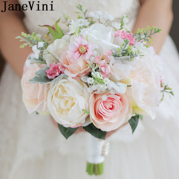 JaneVini High-end Silk Flower Wedding Bouquets Bridal Bouquet For Brides Artificial Rose Brooch Groom Wedding Hand Bouquet Pink