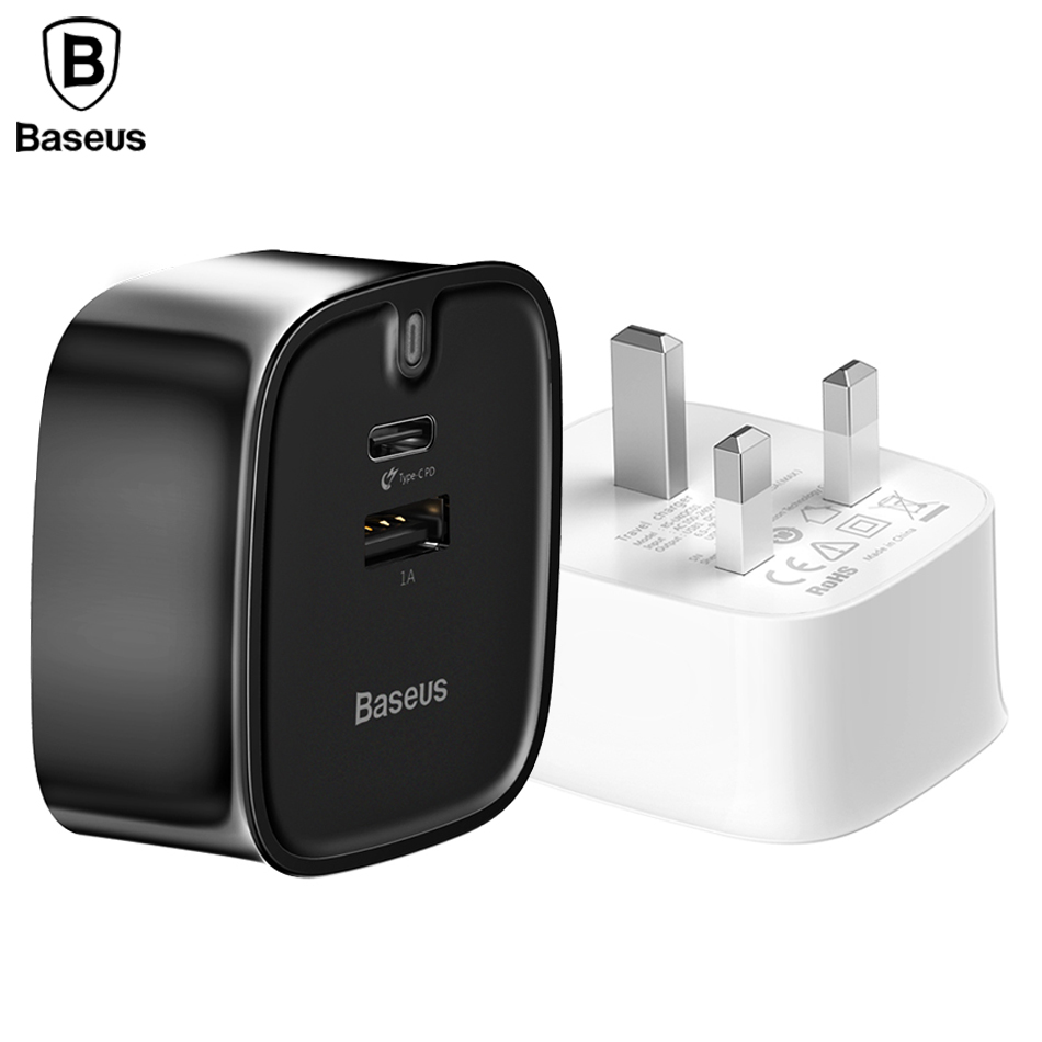 Baseus PD Quick Charger UK Plug For iPhone X Macbook Mobile Phone USB Charger Travel Wall Charger Plug Adapter 3A Type C Charger