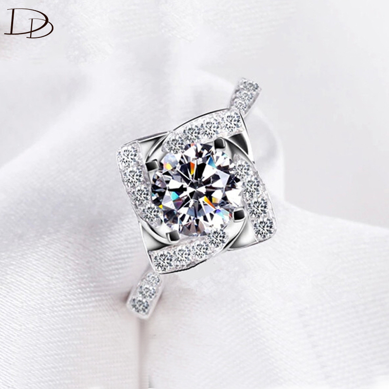 S925 white gold plated wedding CZ Diamond Jewelry luxury bague trendy bijoux Engagement rings for women accessories MSR095 circle