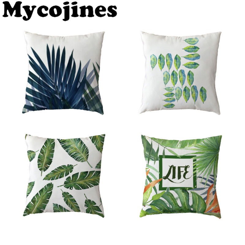 Nordic Style White Throw Cushion Cover Green Leaf Letters