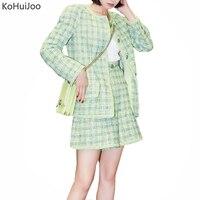 KoHuiJoo Fashion Women Tweed Blazer and Jacket Autmn Single Brested O Neck Woolen Blazer Coat Ladies Outerwear Casaco Femme