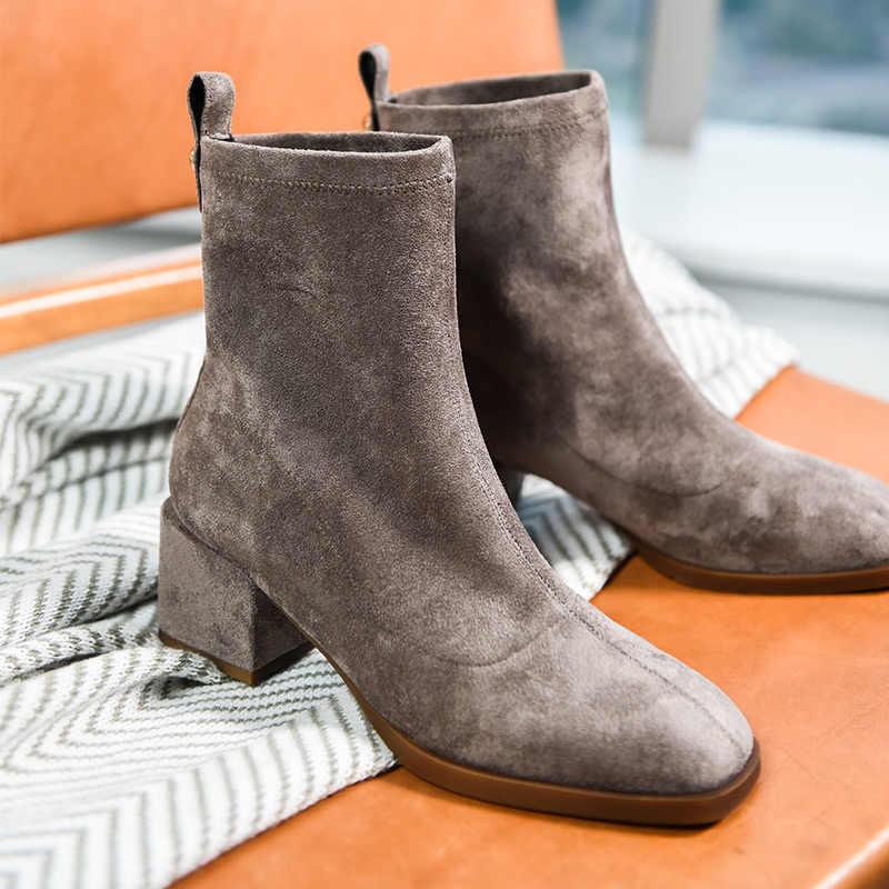 BeauToday Elastische Enkelsok Laarzen Brand New Vierkante Neus Stretch Stof Herfst Winter Hoge Hak Dame Schoenen Handgemaakte 03356