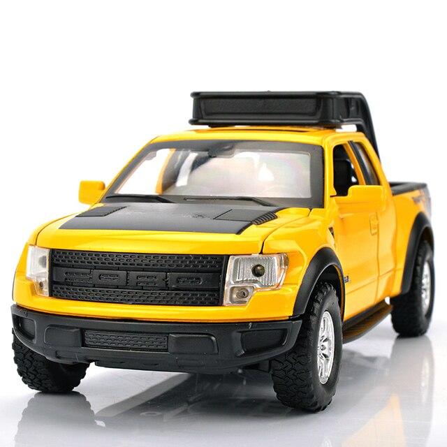 Paduan Mobil Model 1:32 F150 Raptor Pickup Truk Simulasi Transportasi Mainan Suara dan Cahaya Pintu Terbuka