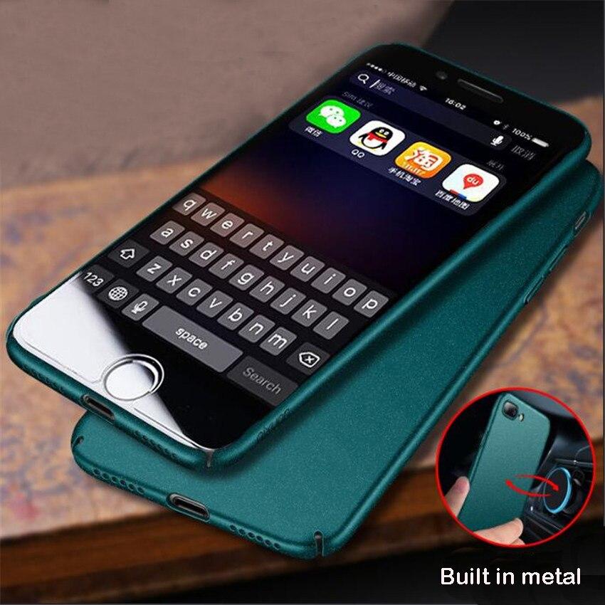 Magnétique Caisse De Support De Voiture Pour iPhone 8 Plus 7 Plus Dur Givré aimant Cas Pour iPhone 7 8 6 6 s Plus Bulit-en Métal Plaque