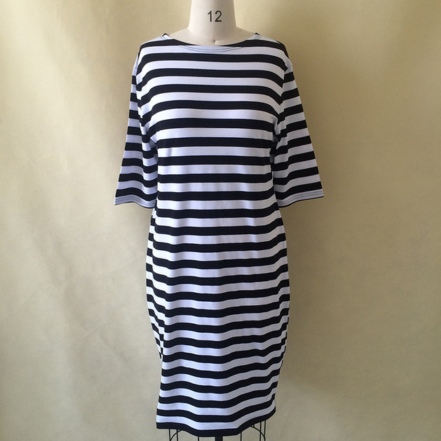 5XL 6XL Large Size 2017 Autumn Summer Dress Big Size Black White Striped Dress Straight Dresses Plus Size Women Clothing Vestido 1