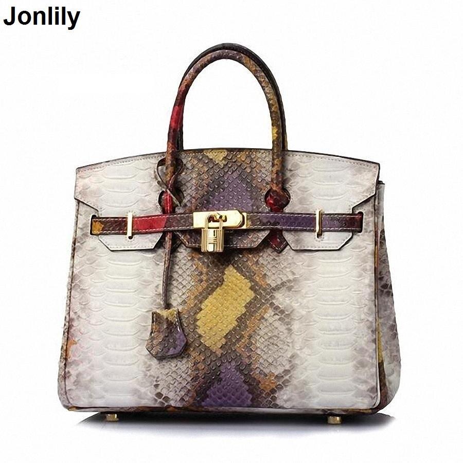 Genuine Leather Bags Female Fashion Snake Pattern Tote Bag Top Leather Handbags Evening Clutch Shoulder bag SLI 165