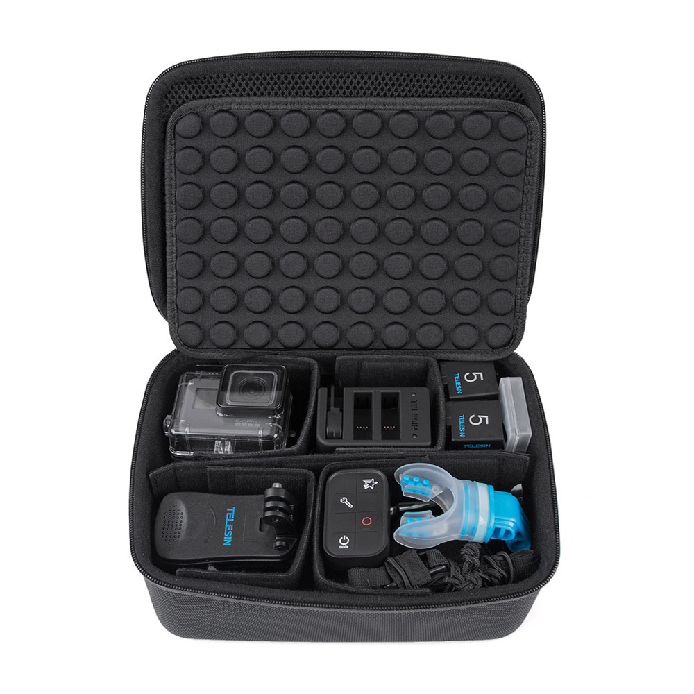 TELESIN Waterproof Carrying Camera Bag Storage Box Carry Case for GoPro Hero 7 6 5 4 3 2 for Xiaomi YI 4K for SJCAM for Eken H9 цена