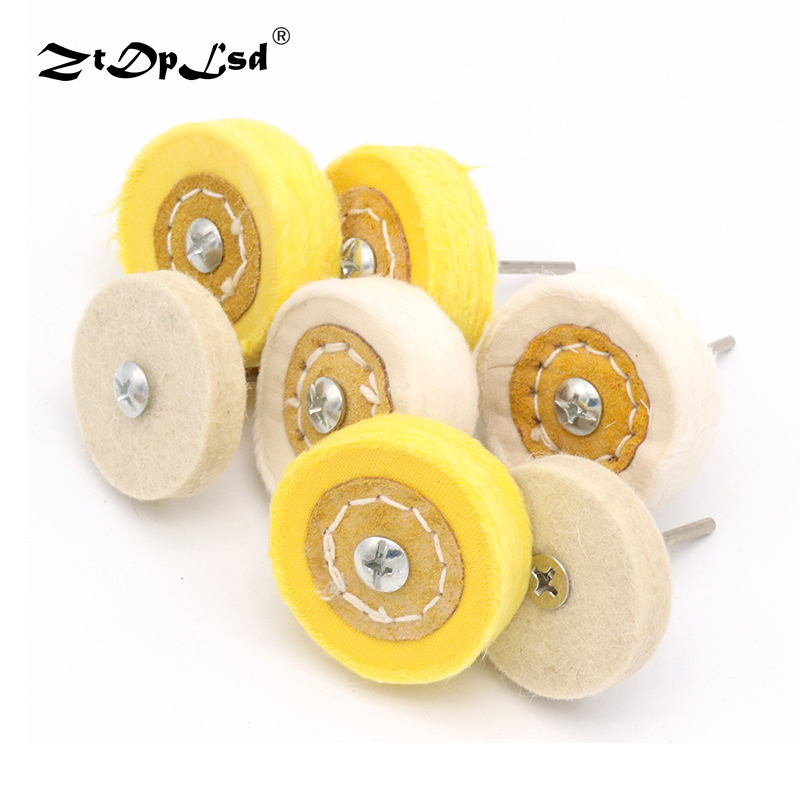 ZtDpLsd White Yellow Shape Handle Mirror Polishing Cotton T Style Polish Buffing Wheel Grinding Head Cloth Dremel Grinder Brush
