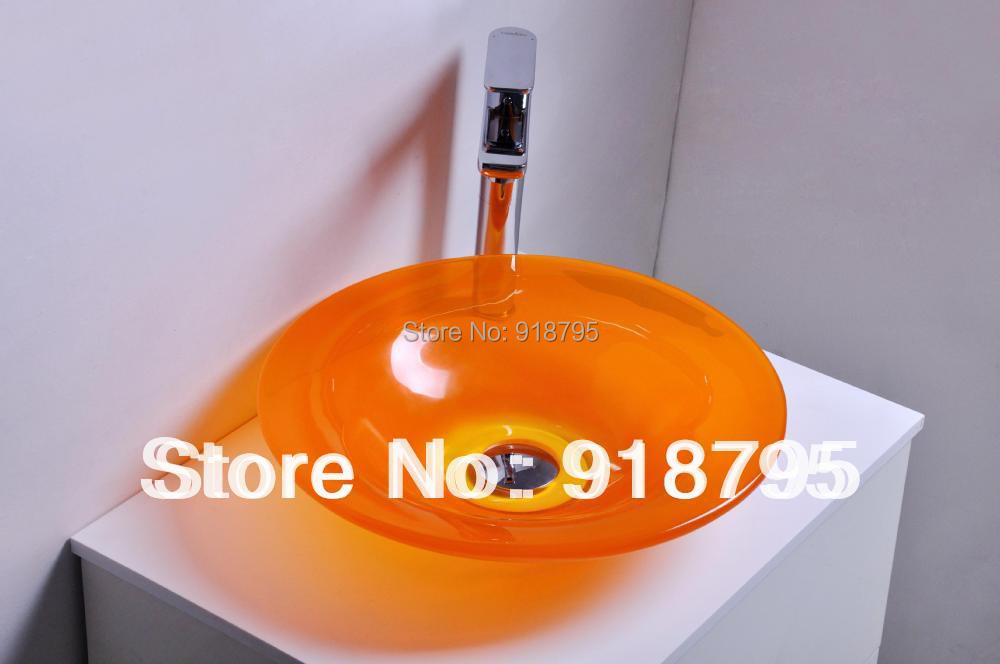Round Bathroom Resin Counter Top Sink Vessel Cloakroom Vanity Above Counter Colored Washbasin Bowl RS38282-370