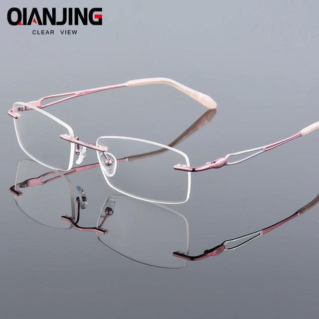 f5ada7f2d4 2018 QIANJING Titanium Myopia Rimless Glasses Memory Square Eyeglasses  Optical Spectacle Frame Eyewear Women Brand Designer