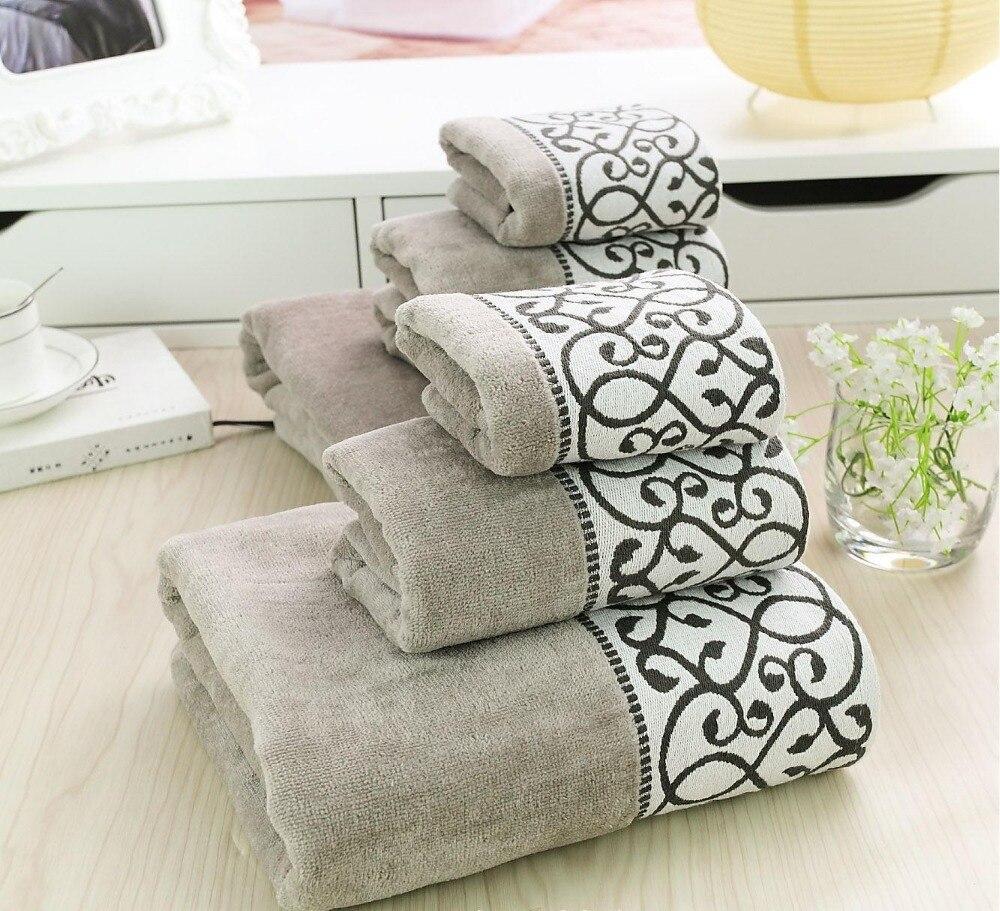 cotton towel set luxury bath towel face hand towel brand body washcloth serviette de plage bathroom