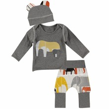 Puseky 3Pcs Elephant Baby Clothing Tiny Cotton Newborn Infant Boys Girls Outfits Long Sleeve T-shirt Top+ Pants Suit Autumn 2017(China)