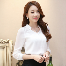 New 2016 Spring Women's Profession Long-sleeved  Solid Chiffon Blouse Shirts Women Plus Size Fashion Casual Women Clothing  860