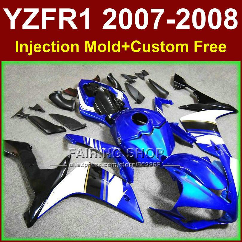 Dark blue motorcycle bodywork for YAMAHA YZFR1 2007 2008 Injection mold fairings YZF R1 YZF1000 body parts YZF 1000 07 08+7gifts запчасти для мотоциклов yamaha yzf1000 r1 07 08
