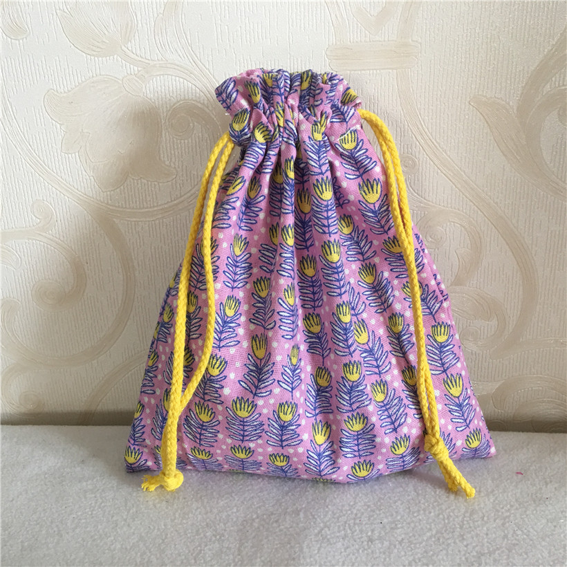 YILE Cotton Linen Drawstring Multi-purpose Organizer Bag Party Gift Bag Rural Grass Yellow Flower Purple 8502-3