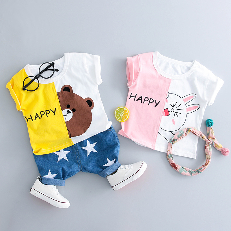 2018 newborn baby girl clothing suit cartoon t shirt+denim pants 2pcs baby boy clothes set for 0~2 age baby clothes girl outfits