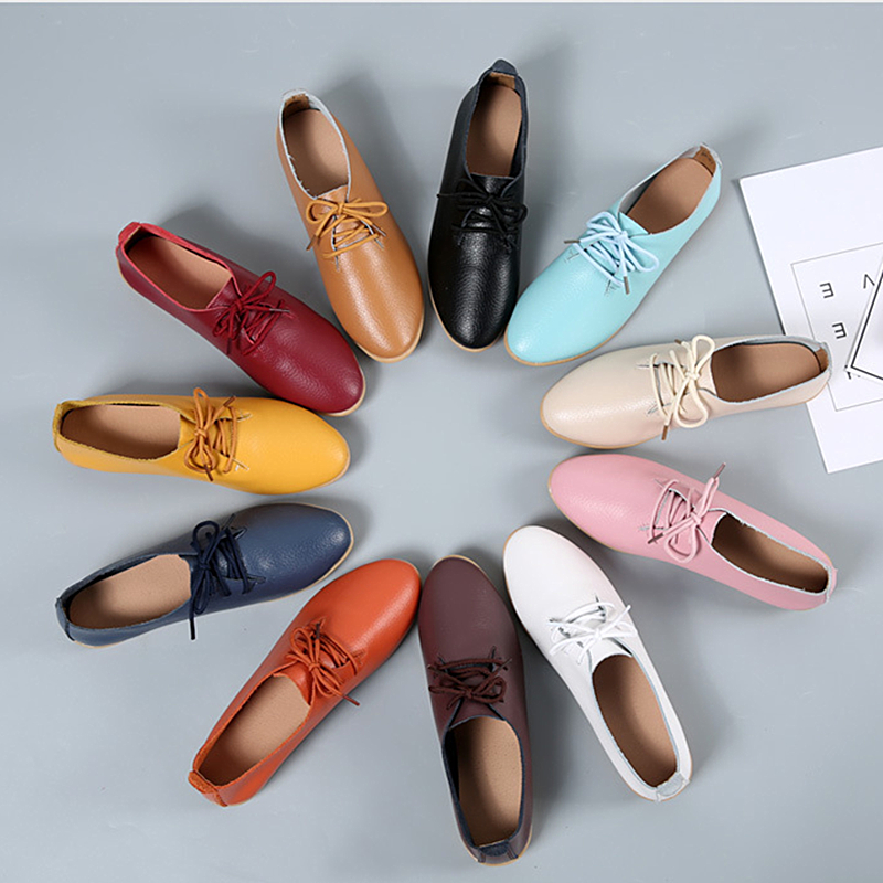 Image 2 - DONGNANFENG Women Ladies Female Mother Leather Shoes Flats Loafers Cow Genuine Leather Pigskin Lace Up Moccasins 35 41 XXH 929Womens Flats   -