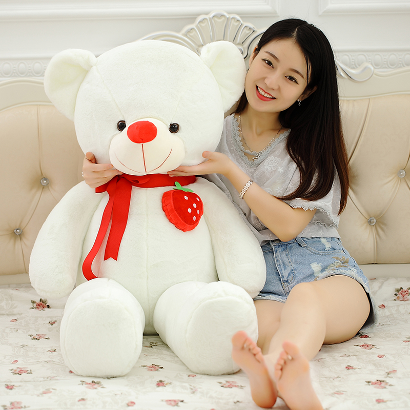 huge plush white teddy bear toy stuffed big strawberry bear doll pillow about 135cm the huge lovely hippo toy plush doll cartoon hippo doll gift toy about 160cm pink