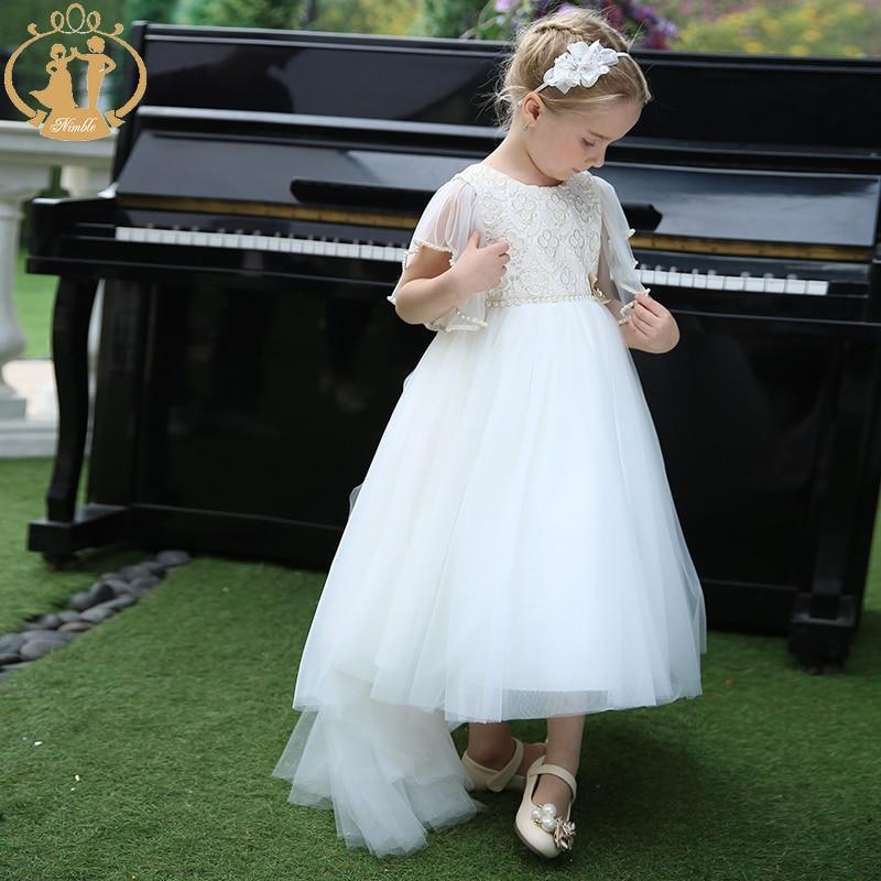 Vestido largo de niña de las flores de Nimble para fiesta y boda princesa de malla Formal vestido de fiesta del tobillo con la cola