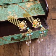 JaneVini китайский Стиль Свадебные Шпильки Винтаж золотые свадебные украшения для волос Для женщин Театрализованное головной убор гребни набор аксессуары