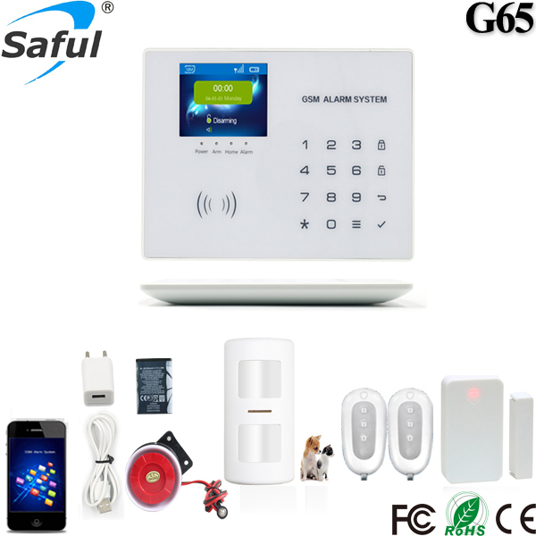 Two Way Communication Wireless Home security GSM Alarm system G65 with LCD Touch Screen цена
