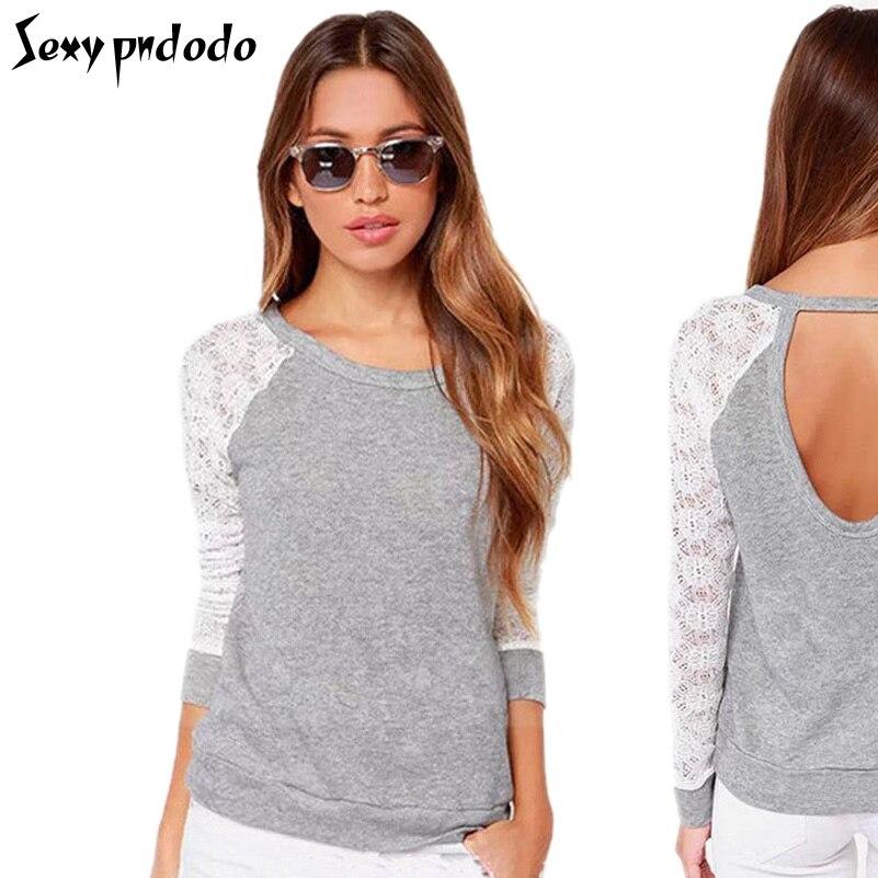 5Colour Long Sleeve Poleras Lace Extender Patchwork Crochet t-Shirt Tops Plus Size XXL New 2016 Fashion Sexy T-Shirt Women Shirt