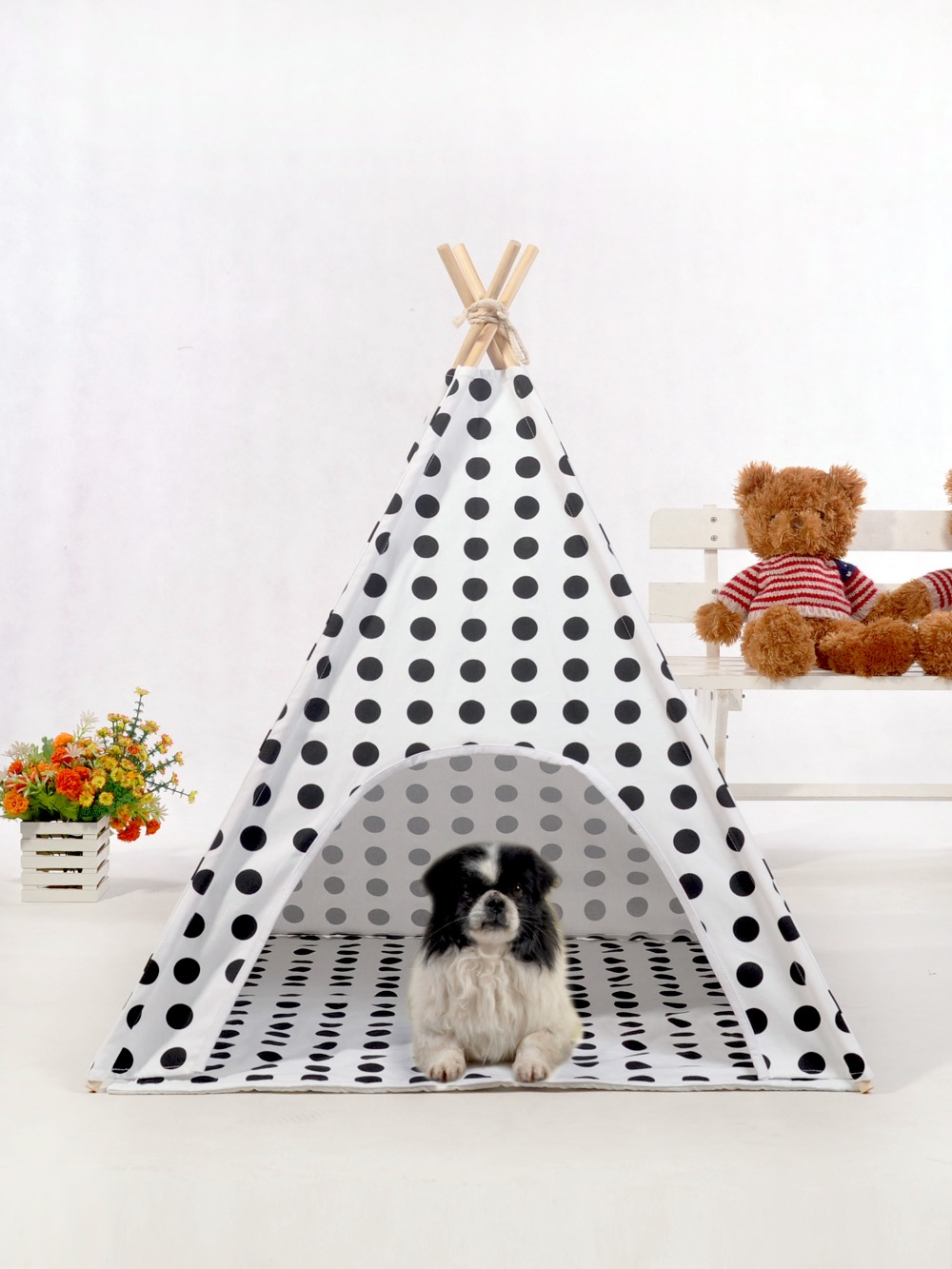 Large Polka Dot Canvas Dog Teepee Tipi Tent Pet House Bed 28 yellow chevron pet teepee dog bed house teepee for dogs rabbit teepee