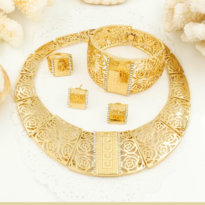African Charm Big Jewelry Sets Wedding Dubai Hollow Rose Design Laser Retro Pattern Gold Jewelry Big Necklace Bracelet Set black heart shaped rose pattern retro bracelet