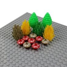 20 шт. городской сад блок кубики Moc DIY 2x2 грибные растения цветы трава кустарник части дети Legoed строительные блоки аксессуары игрушки