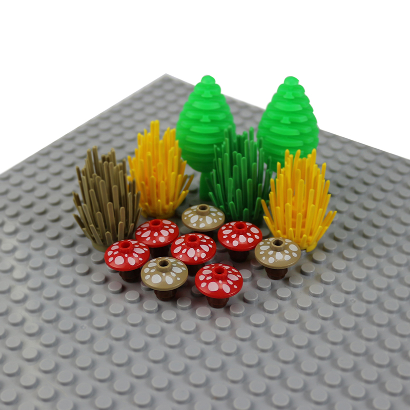 20pcs City Garden Block MOC Bricks DIY 2x2 Mushroom Plants Flowers Grass Bush Parts Kids Legoed Building Blocks Accessories Toys