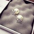 2016 fashion pearls jewerly rhinestone studs earrings Christmas snow flower double side earrings for Women