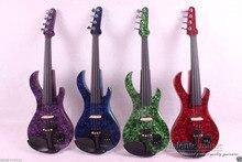 4/4 elektrische Violine Massivholz Leistungsstarke Sound Schöne Intarsien Gitarre Spindelstock #1
