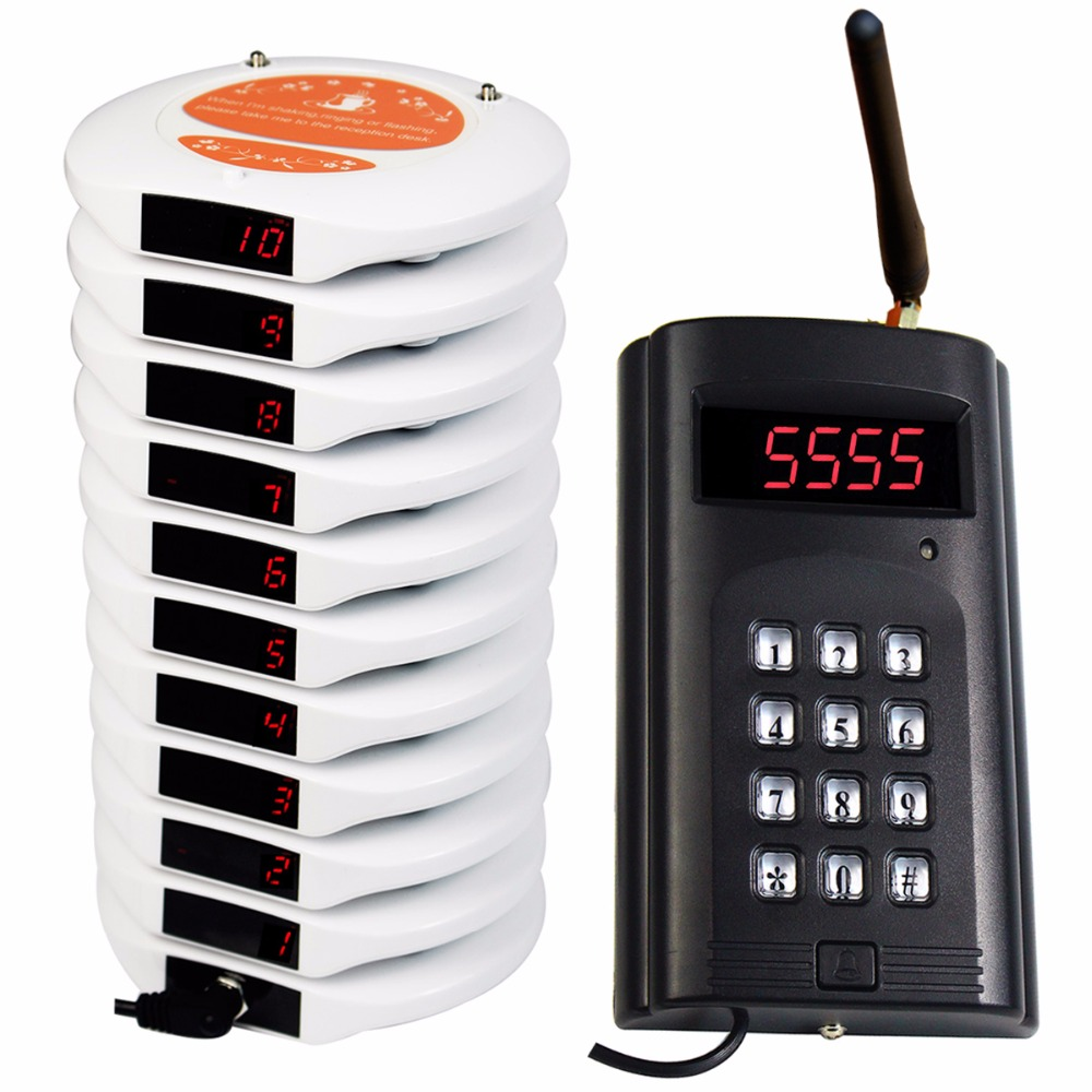 999 Channel Restaurant Coaster Pager Guest Calling System Wireless Paging Queuing System Rechargeable F3169B wireless pager system 433 92mhz wireless restaurant table buzzer with monitor and watch receiver 3 display 42 call button