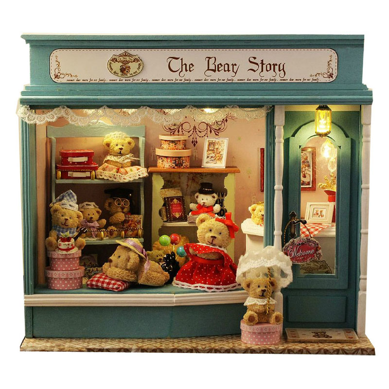 Wooden Bear Story Family Model DIY Assemble Miniature Dollhouse Furnitures Kit Model With LED Light Doll House Birthday Gift