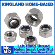 M6-M12 DIN985 Left Hand Thread Nylon Insert Lock Nuts 304 Stainless Steel Fasteners DIY Hardware LM008