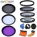 K & f conceito 52mm close up + 1 + 2 + 4 + 10 uv cpl fld filtro kit para nikon d5100 d5200 d5300 d3200 d3300 18-55mm